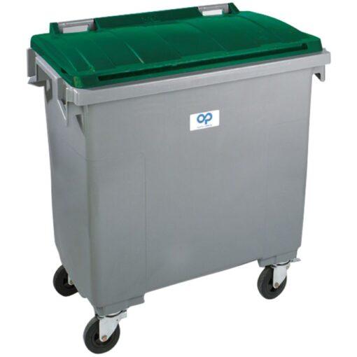 Contenedor de plástico color Gris con tapa de color Verde 4 ruedas, 770 L 126,5 cm x 107 cm x 130 cm 1