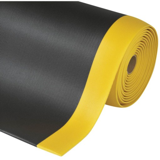 Gripper Sof-Tred™ Alfombra antifatiga para uso intensivo Color Negro con viselado en Amarillo en rollo de 18,3m