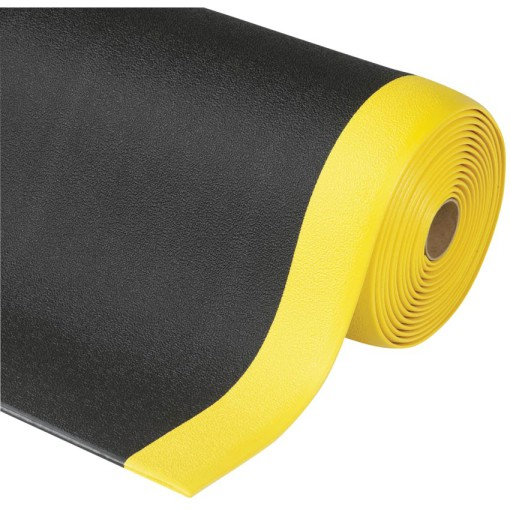 Sof-Tred Alfombra antifatiga  para uso corriente Color Negro con viselado en Amarillo en rollo de 18,3m