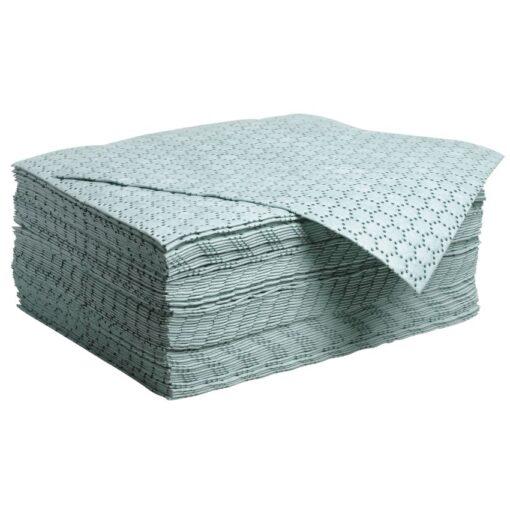 """100 hojas absorbentes hidrocarburos """"Premier"""" doble espesor con capa de refuerzo en un lado. 50 cm x 40 cm"""