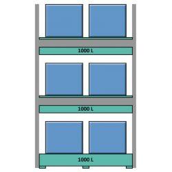 Elemento siguiente para estantería en acero galvanizado para contenedores y palets 289 cm x 130 cm x 390 cm