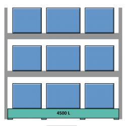 Elemento siguiente para estantería en acero galvanizado para contenedores y palets 349 cm x 130 cm x 390 cm