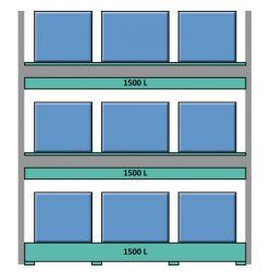 Estantería de seguridad en acero galvanizado para contenedores y palets 349 cm x 130 cm x 390 cm