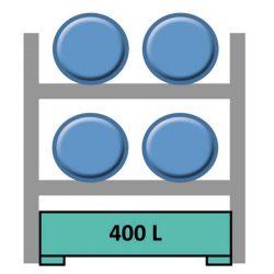 Estantería de seguridad en acero galvanizado para 4 bidones en horizontal 165 cm x 120 cm x 210 cm