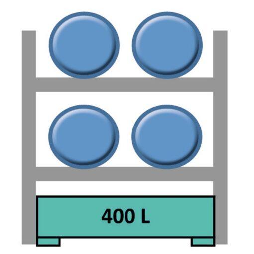 Estantería de seguridad en acero galvanizado para 4 bidones en horizontal 165 cm x 120 cm x 210 cm 1