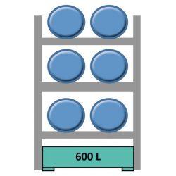 Elemento siguiente para estantería en acero galvanizado para 6 bidones en horizontal 165 cm x 120 cm x 210 cm