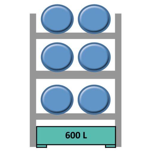 Elemento siguiente para estantería en acero galvanizado para 6 bidones en horizontal 165 cm x 120 cm x 210 cm 1
