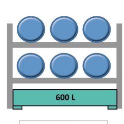 Estantería de seguridad en acero galvanizado para 6 bidones en horizontal  240 cm x 120 cm x 210 cm