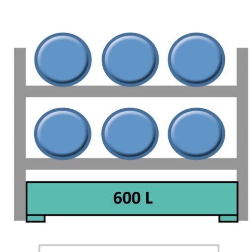 Elemento siguiente para estantería en acero galvanizado para 6 bidones en horizontal 240 cm x 120 cm x 210 cm 1