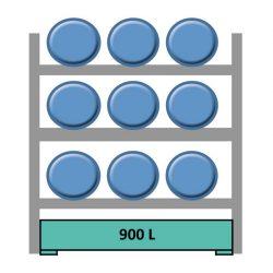 Elemento siguiente para estantería en acero galvanizado para 9 bidones en horizontal 240 cm x 120 cm x 210 cm