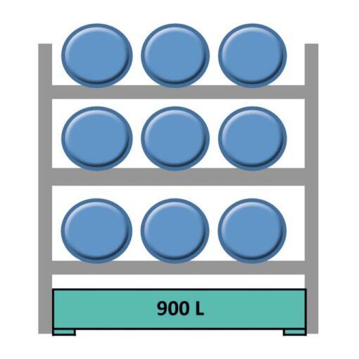 Elemento siguiente para estantería en acero galvanizado para 9 bidones en horizontal 240 cm x 120 cm x 210 cm 1