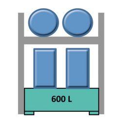 Elemento siguiente estantería en acero galvanizado para 2 bidones en horizontal y 4 en vertical 165 cm x 120 cm x 270 cm