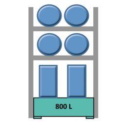 Elemento siguiente estantería en acero galvanizado para 4 bidones en horizontal y 4 en vertical 165 cm x 120 cm x 270 cm