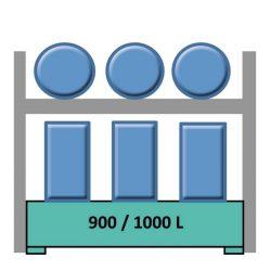 Elemento siguiente estantería en acero galvanizado para 3 bidones en horizontal y 6 en vertical 240 cm x 120 cm x 270 cm