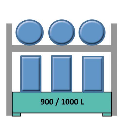 Elemento siguiente estantería en acero galvanizado para 3 bidones en horizontal y 6 en vertical 240 cm x 120 cm x 270 cm 1