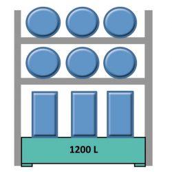 Elemento siguiente estantería en acero galvanizado para 6 bidones en horizontal y 6 en vertical 240 cm x 120 cm x 270 cm