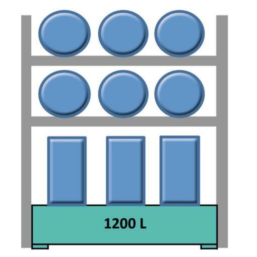 Elemento siguiente estantería en acero galvanizado para 6 bidones en horizontal y 6 en vertical 240 cm x 120 cm x 270 cm 1