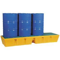 Cubeta de retención de polietileno 4 bidones en línea, 450 litros 241 cm x 69,5 cm x 33 cm