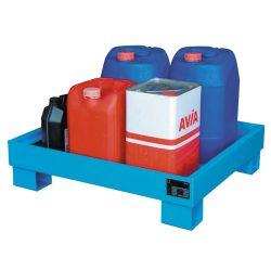 Cubeta de retención de acero barnizado 4 bidones, 81 litros. 90 cm x 80 cm x 15 cm