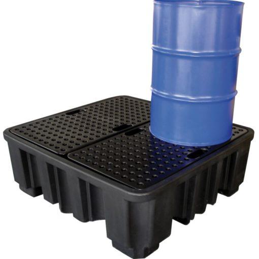 Cubeta de retención PE 4 bidones para cargas pesadas, 485 litros 138 cm x 129 cm x 48 cm 1