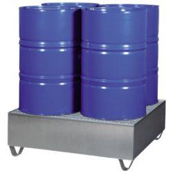 Cubeta de retención de acero galvanizado para 4 bidones Prim's | Haleco