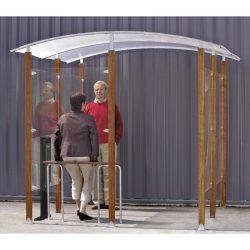 Marquesina adosada para fumadores de 4 m2 250 cm x 250 cm x 230 cm