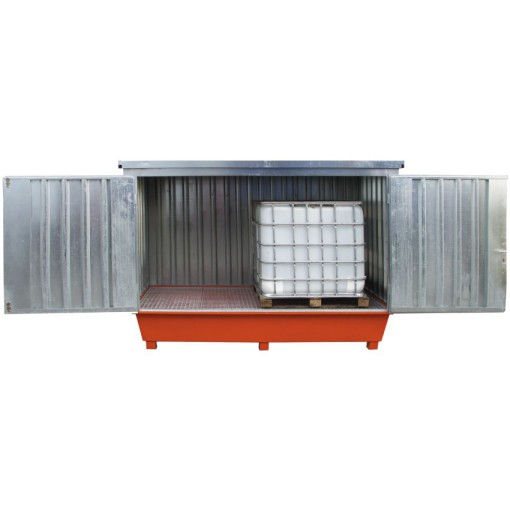 Contenedor de acero galvanizado 2 cubitainers, 1000 litros 300,5 cm x 149 cm x 235 cm 1