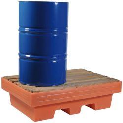 Cubeta de retención de polietileno 2 bidones, 240 litros 125,5 cm x 85,5 cm x 37,5 cm