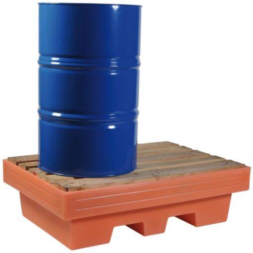 Cubeta de retención de polietileno 2 bidones, 240 litros 125,5 cm x 85,5 cm x 37,5 cm 1