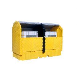 Contenedor exterior polietileno 2 contenedores, 2000 litros 325 cm x 170 cm x 244 cm