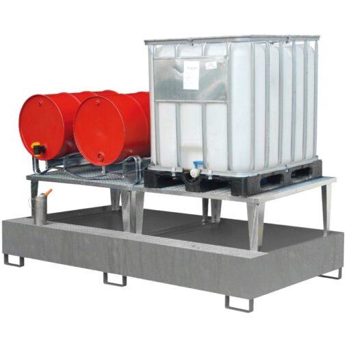 Cubeta de retención acero galvanizado con realce 2 GRG/IBC´s  o 8 bidones, 1000 litros  266 cm x 164 cm x 88,5 cm 1