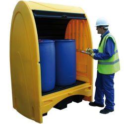 Contenedor exterior de polietileno, 2 bidones, 250 litros 156,5 cm x 99,5 cm x 211 cm