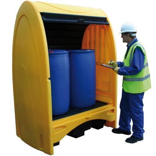 Contenedor exterior de polietileno, 2 bidones, 250 litros 156,5 cm x 99,5 cm x 211 cm 1