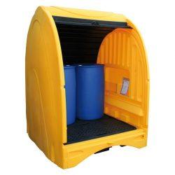 Contenedor exterior de polietileno 4 bidones, 250 litros 156,5 cm x 162 cm x 211 cm