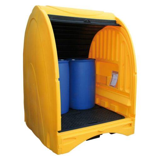 Contenedor exterior de polietileno 4 bidones, 250 litros 156,5 cm x 162 cm x 211 cm 1