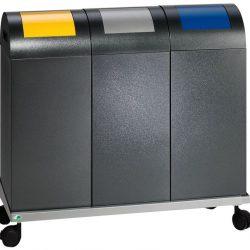 Carrito acero para 3 papeleras. 98 cm x 37 cm x 190 cm