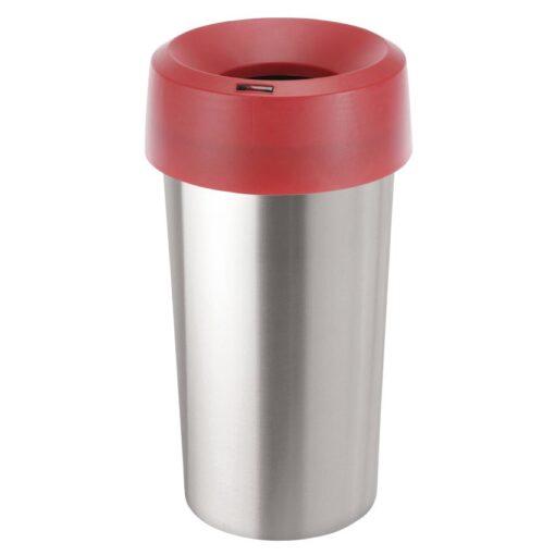 Tapa embudo color Rojo para papelera aspecto inox 50L, 38 cm x 38 cm x 15 cm 1