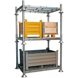 Postes de acero 1340 mm para Manurack y para cubetas remontables para 4 bidones. 6 cm x 6 cm x 134 cm