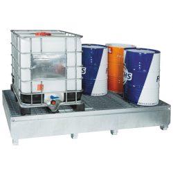 Cubeta de retención de acero galvanizado 2 GRG/IBC´s , 1000 litros | Haleco 01