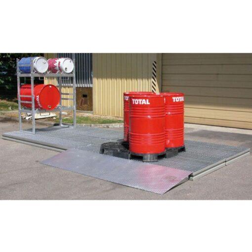 Plataforma de retención de acero galvanizado 280 litros 132 cm x 128 cm x 17 cm 1