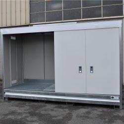 Contenedor abierto en acero galvanizado 3 contenedores, 1500 L 398,3 cm x 146,6 cm x 200,5 cm
