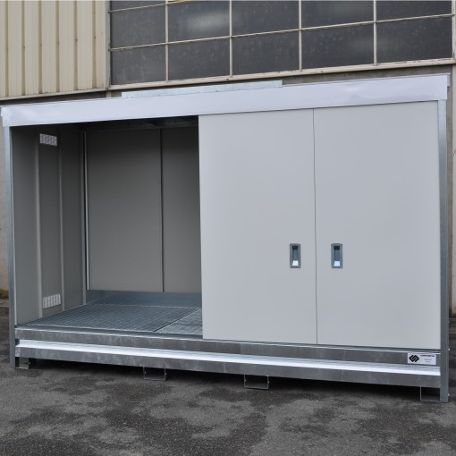 Contenedor abierto en acero galvanizado 3 contenedores, 1500 L 398,3 cm x 146,6 cm x 200,5 cm 1