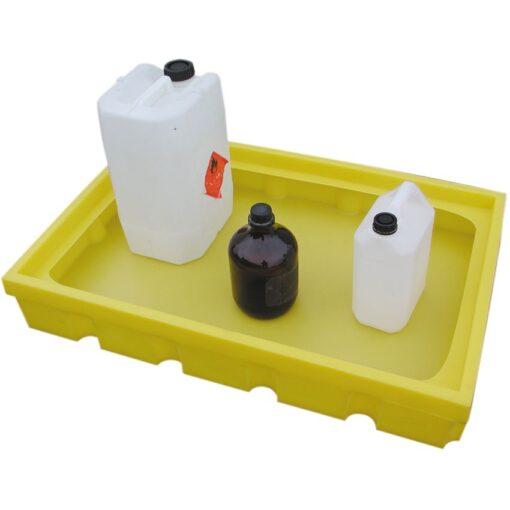 Cubeta de retención de polietileno con fondo plano para bidones y garrafas, 100 litros 99 cm x 64,5 cm x 14,5 cm 1