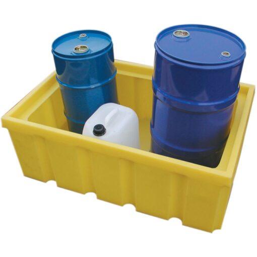 Cubeta de retención de polietileno con fondo plano para bidones y garrafas, 200 litros 99 cm x 64,5 cm x 34,5 cm 1