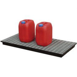 Cubeta de retención de polietileno para bidones, 40 litros 130 cm x 62 cm x 8 cm