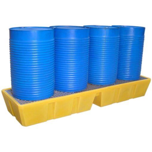 Cubeta de retención de polietileno 4 bidones en línea, 450 litros 241 cm x 69,5 cm x 33 cm 1