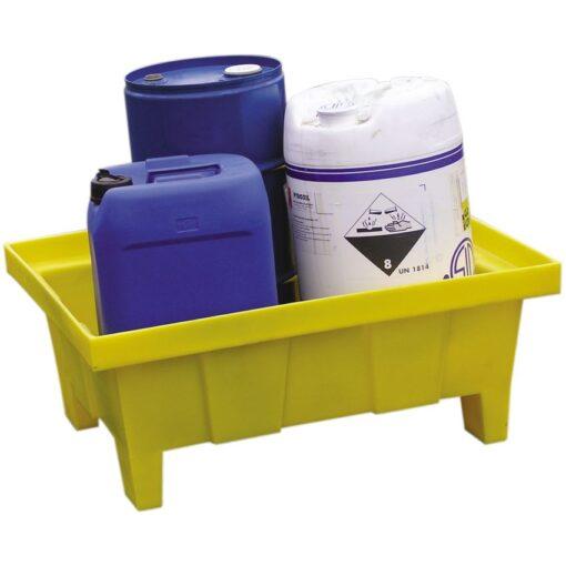 Cubeta de retención de polietileno para bidones, 70 litros 81 cm x 64 cm x 34 cm 1