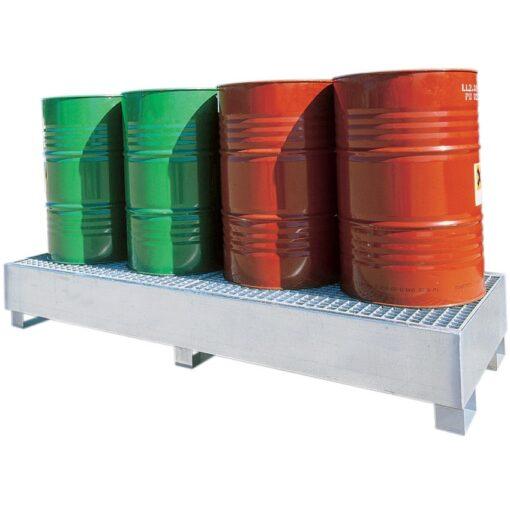 Cubeta de retención  longitudinal de acero galvanizado 4 bidones, 440 litros