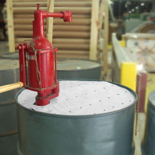 Cubre bidones absorbentes de hidrocarburos. Conserve la parte superior de sus bidones limpia