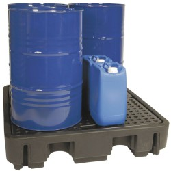 Cubeta de retención PE 4 bidones para cargas pesadas, 250 litros 138 cm x 129 cm x 28 cm